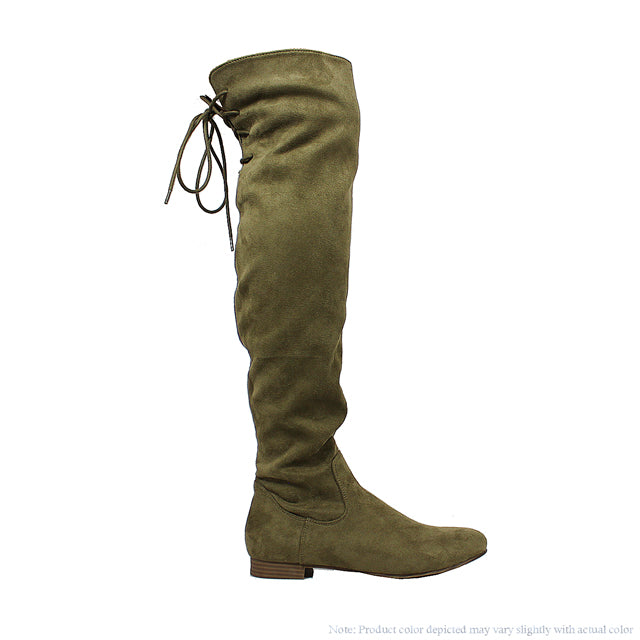 Ultra Suede Over the Knee Riding Boots - Olive - The House of Stylez