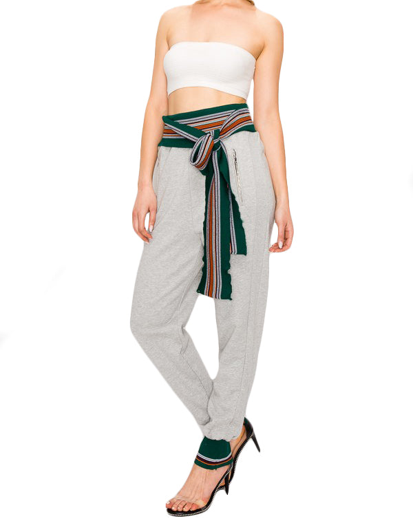 Belted Sweat Pants - The House of Stylez