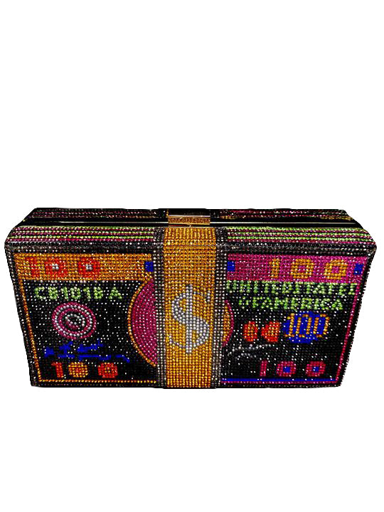 Bling Money Bag Clutch/Crossbody -Black Multi