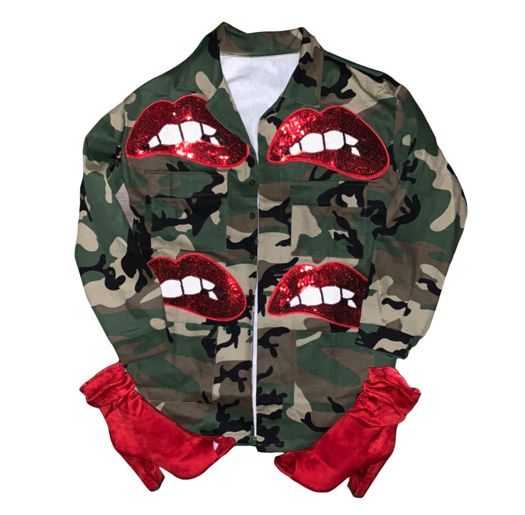Camouflage Sequins Lips Jacket - The House of Stylez