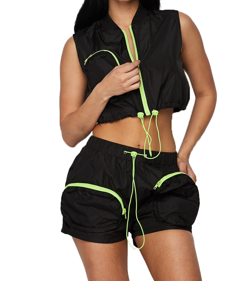 2 PC Cropped Top Track Short Set - Black - The House of Stylez
