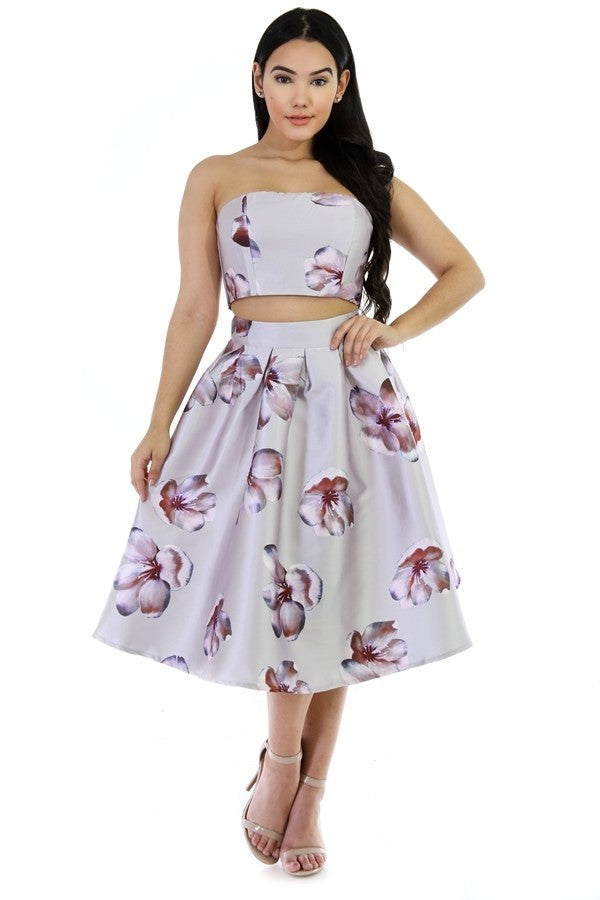 2 Piece Tube Top Floral Skirt Set - The House of Stylez