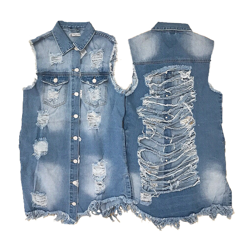 Long Distressed Denim Vest {stitching is wheat color} - The House of Stylez