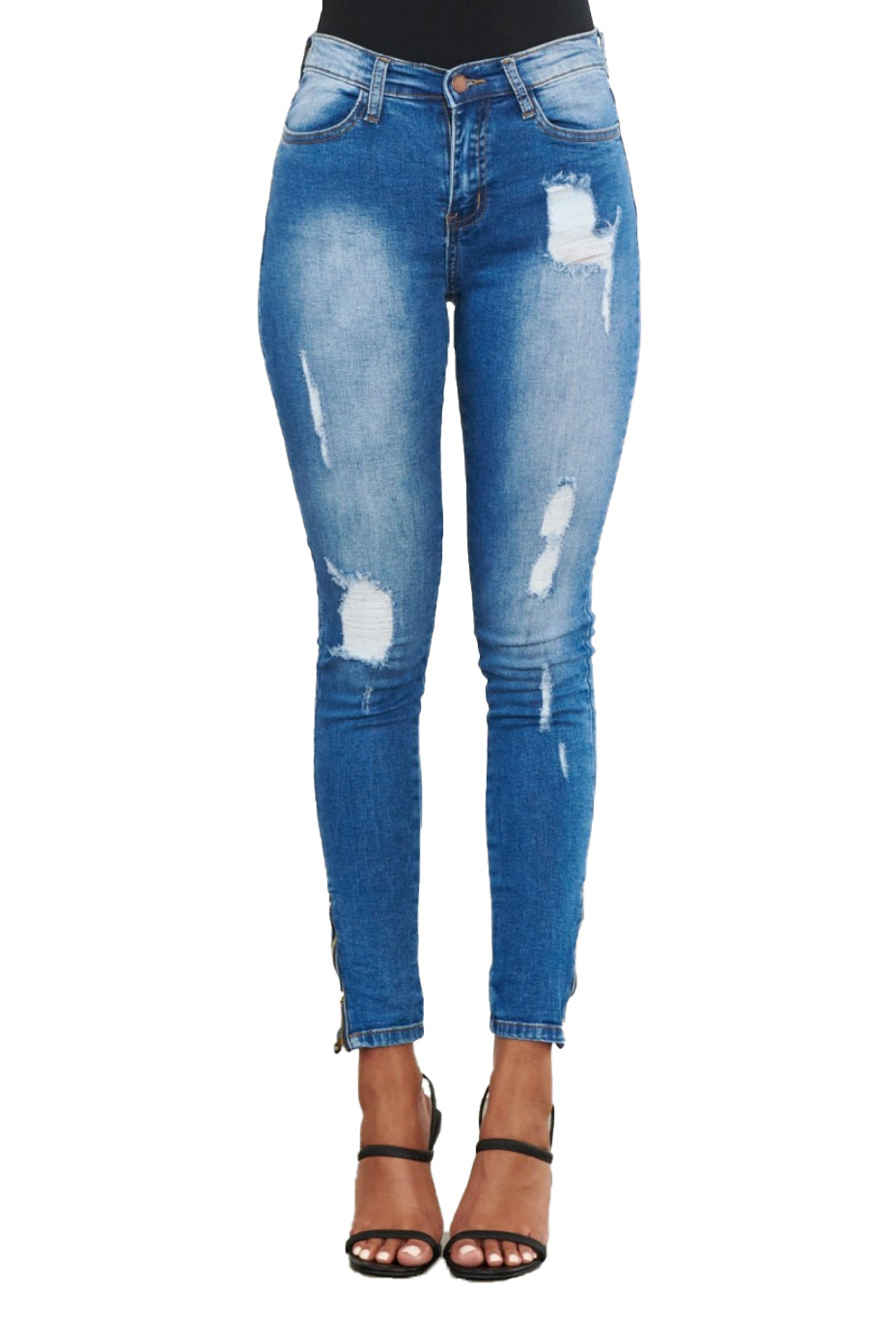 {E750} Skinny Distressed  Jeans w/ ankle zipper