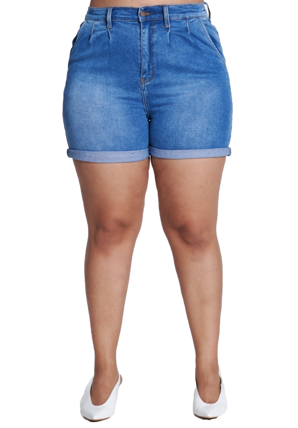 {{ES1652}} Curvy Cuffed Shorts with side pockets (Short Cuffs can roll down) - The House of Stylez