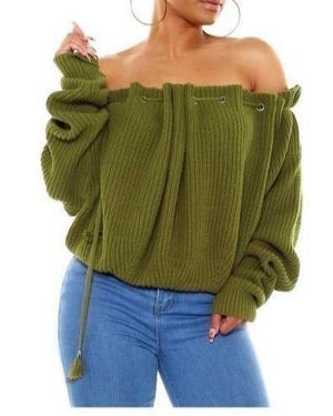 Off the Shoulder Long Sleeve Sweater - {3 Colors Available} THIS SWEATER IS OVERSIZED PLEASE TEXT 470 449 9700 IF YOU NEED HELP ORDERING - The House of Stylez