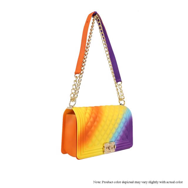 Jelly {Silicone} Shoulder Bag - Orange/Yellow/Purple