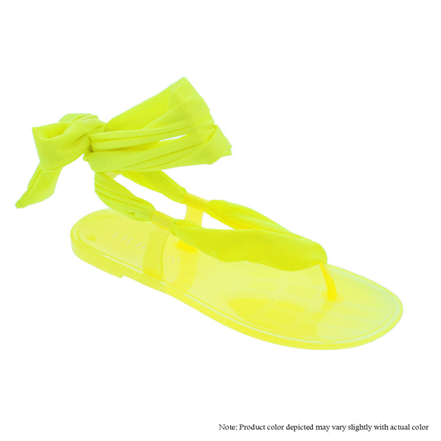 Neon Yellow Lace Up Sandals - The House of Stylez