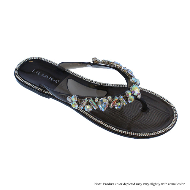 Jeweled Thong Sandals - The House of Stylez