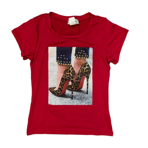 Leopard Red Bottom Heels T-shirt {Four Colors Available} - The House of Stylez