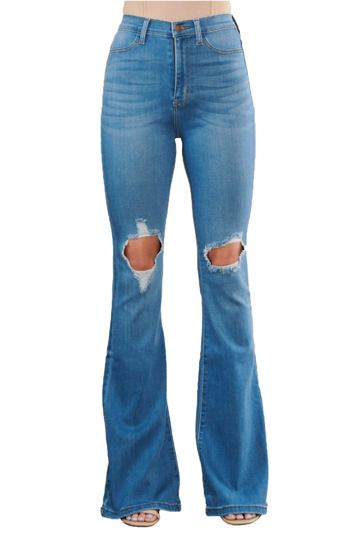 "{MP1824} Exposed Knee Wide Jeans -33"" inseam"
