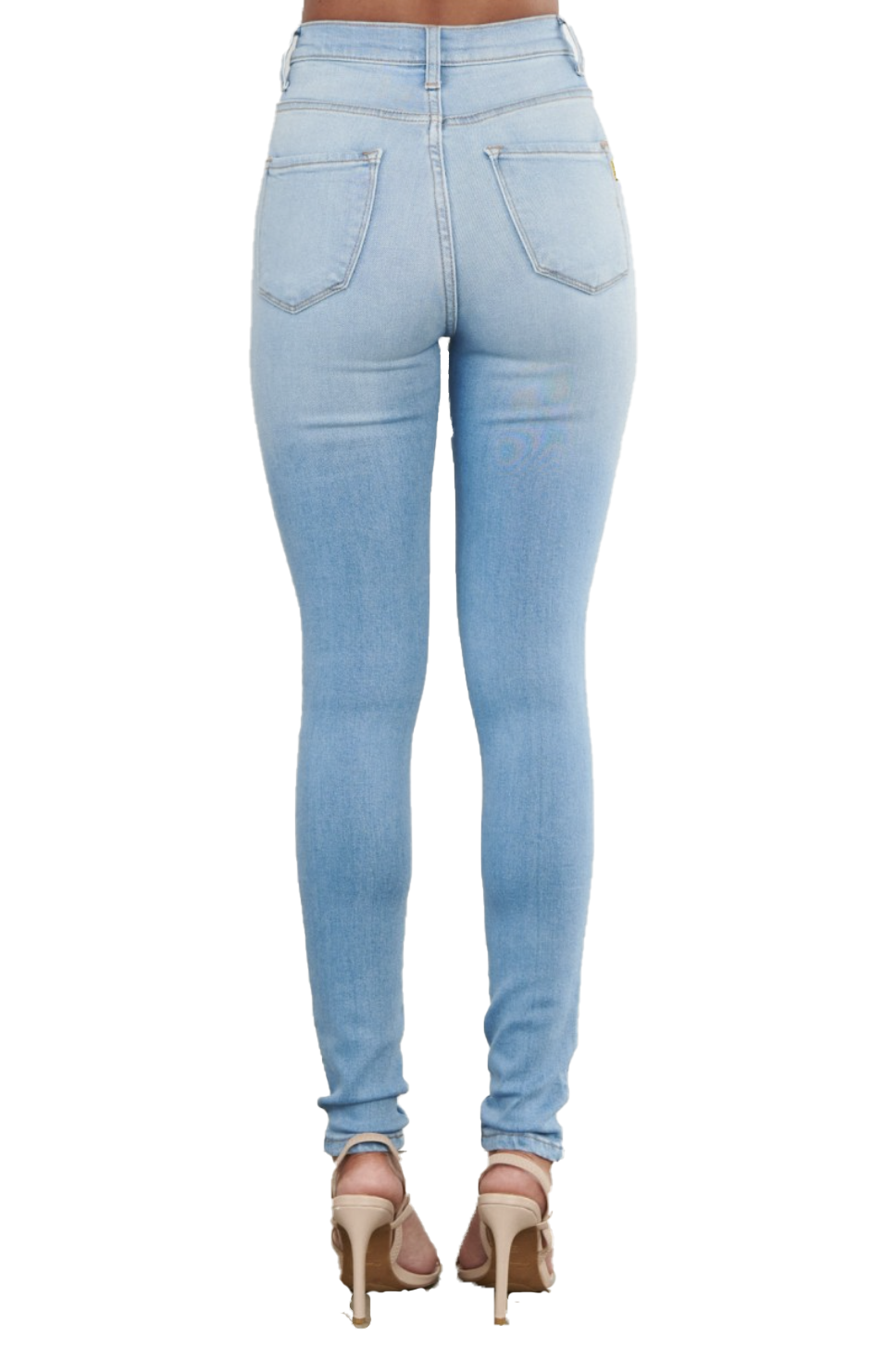{MP1835} Denim Exposed Knee Skinny Jeans