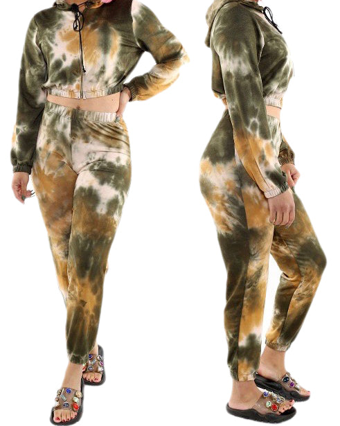 2 PC Off Cropped Hoody Tie Dye Set - Olive - The House of Stylez