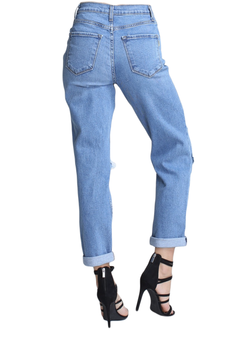 {P1378} Blue Denim Distressed Mom Jeans {2 Color Available} - The House of Stylez