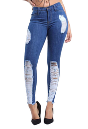 {P1659} Blue Denim Distressed Skinny Jeans - The House of Stylez