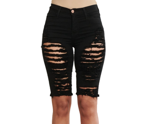 {{P1719}} Distressed Bermuda Shorts - {2 Colors Available} - The House of Stylez