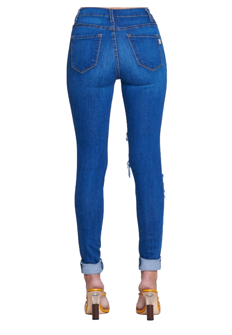 {P711} Cuffed Blue Denim Distressed Skinny Jeans - The House of Stylez