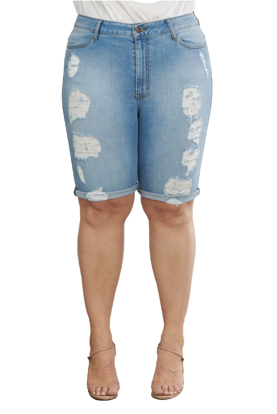 {{P815}} Curvy Cuffed Distressed BoyFriend Shorts (Short Cuffs can roll down) - The House of Stylez