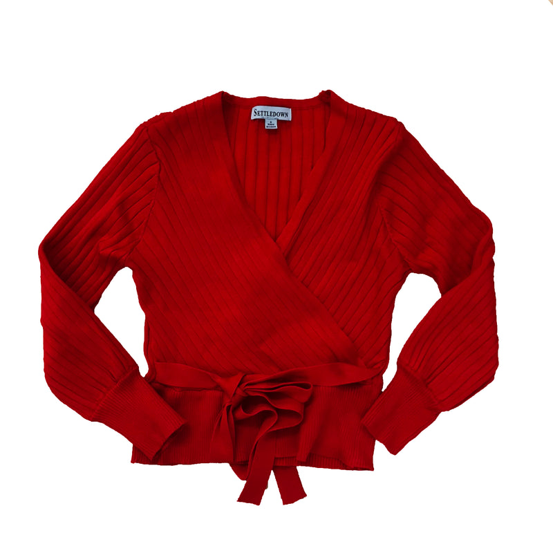 V-Neck Belted Knit Top - Red - The House of Stylez