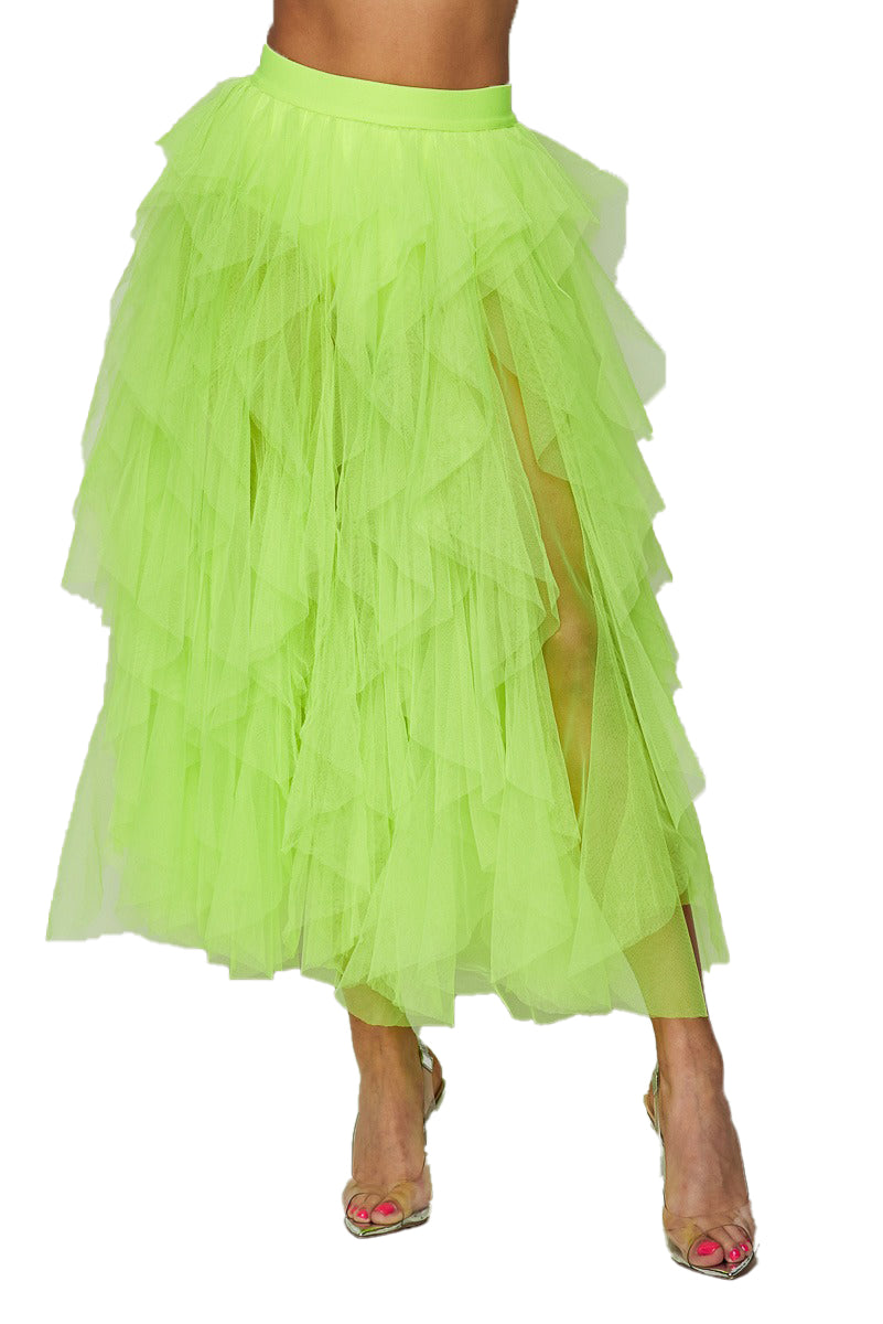 Ruffle Mesh Tulle Skirt - Neon Lime - The House of Stylez