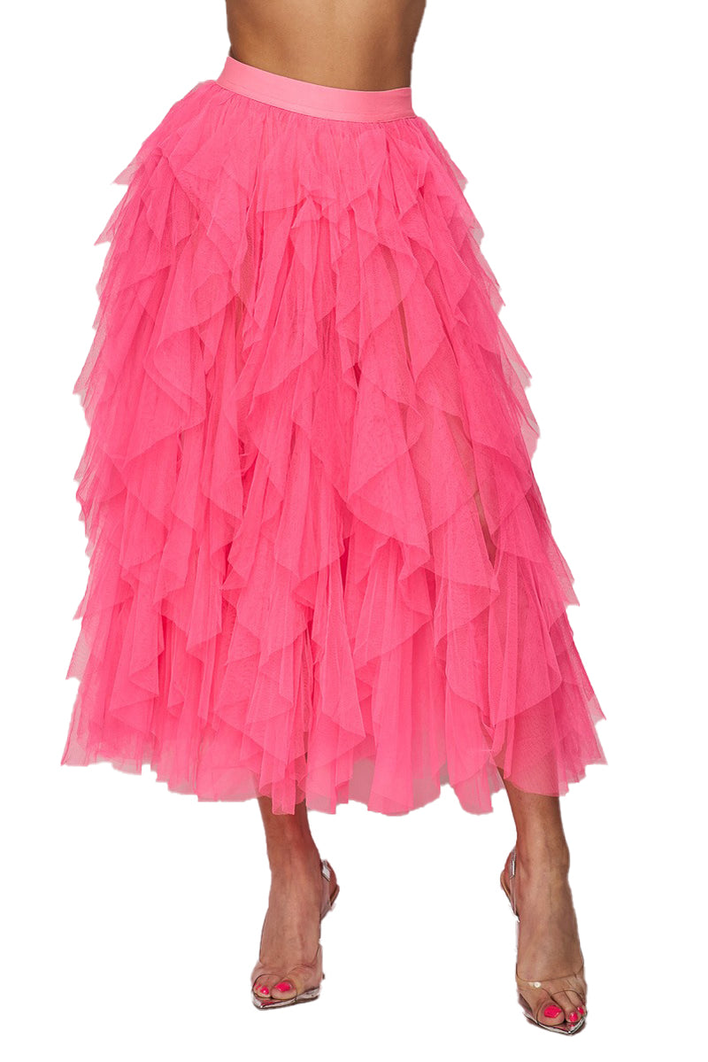 Ruffle Mesh Tulle Skirt - Neon Pink - The House of Stylez