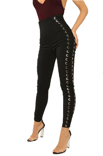 Totally Laced Up Side Slim Fit Pants - Black - The House of Stylez