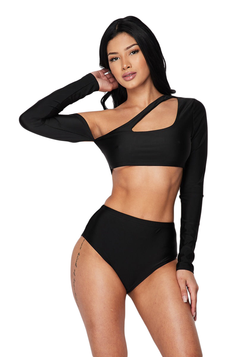 Two Piece Long Sleeve Tankini - Black - The House of Stylez