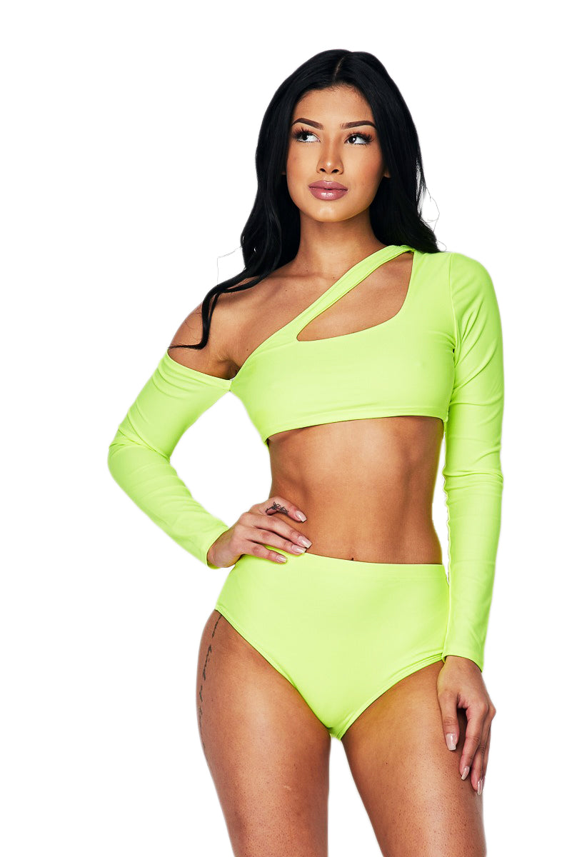 Two Piece Long Sleeve Tankini - Neon Lime