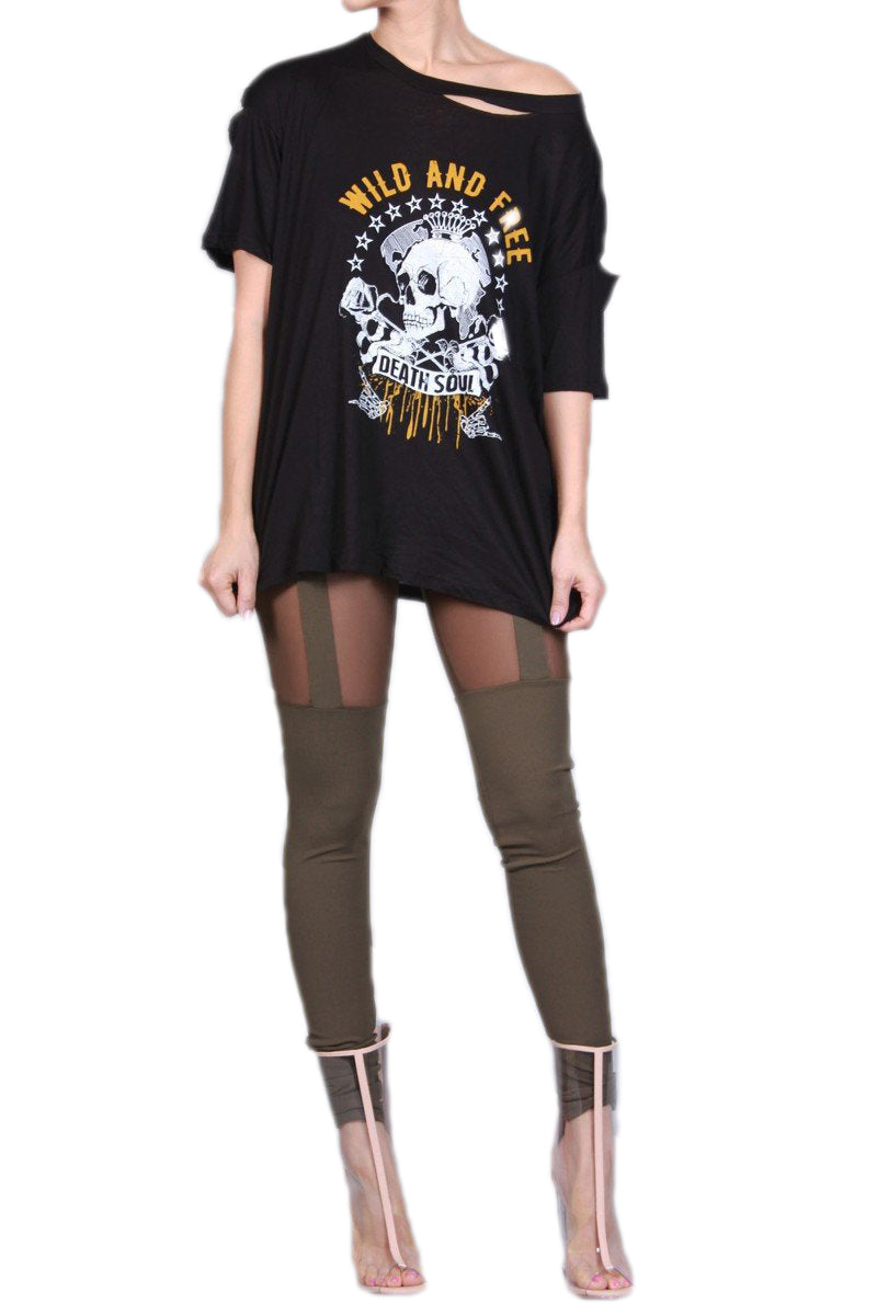 Wild And Free Graphic Distressed Tee - The House of Stylez