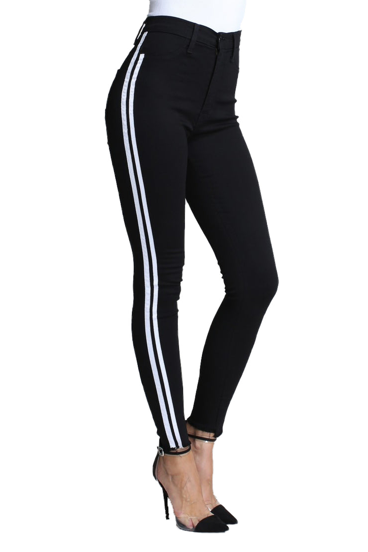 Black Denim with White Stripes Jeans {unfinished bottoms} - The House of Stylez