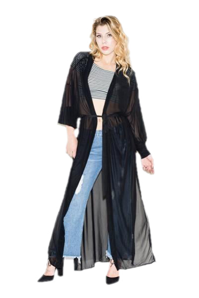 See Thru Kimono- Black - The House of Stylez
