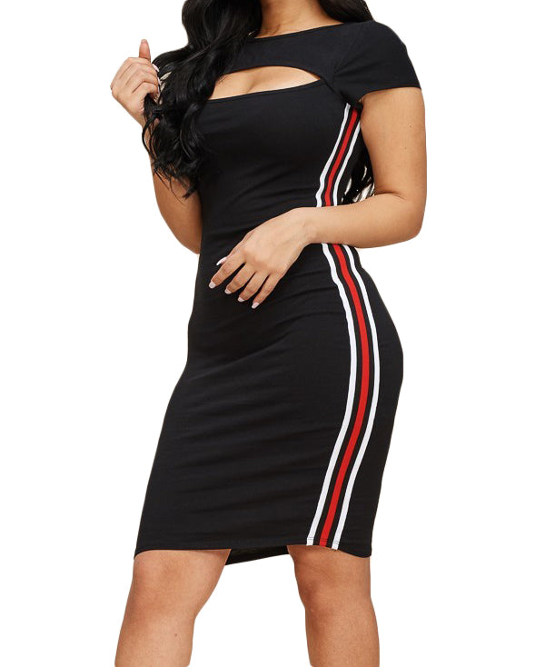 Black Striped T-Shirt Dress - The House of Stylez