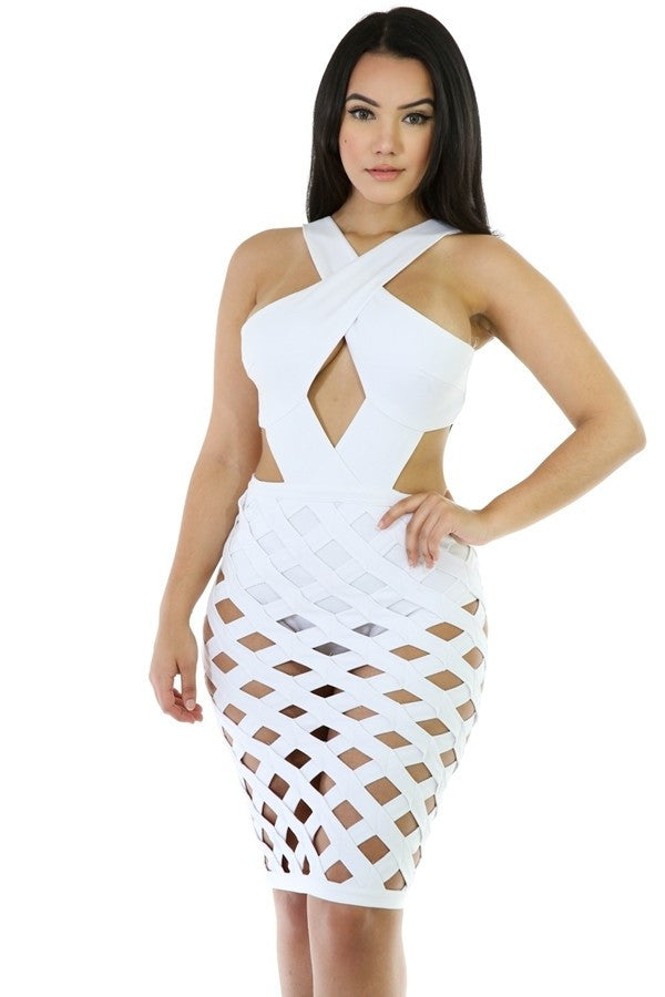 Criss Cross Caged Dress {comes with panties} - The House of Stylez