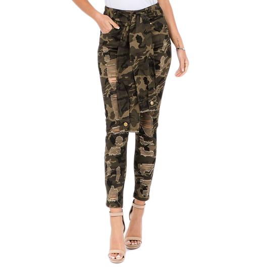 Camouflage Distressed Jeans w/ Sleeve Tie - The House of Stylez