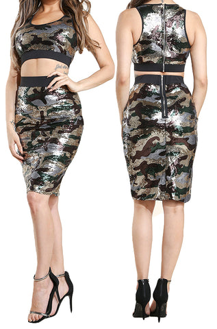 2 Piece Camo Sequin Cropped Top & Skirt Set - The House of Stylez