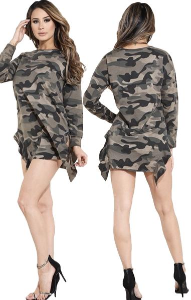 Camo Sweatshirt Dress with ruffle slits- {2 colors available} - The House of Stylez
