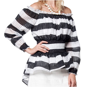 Striped off Shoulder Peplum Top - The House of Stylez