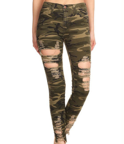 Curvy Camo Distressed Bottom Jeans - The House of Stylez