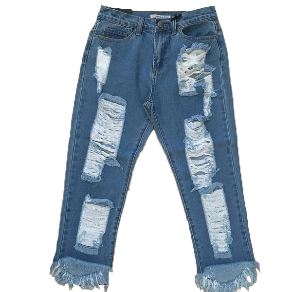 Long Distressed Capris - The House of Stylez