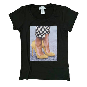 Gold Bling Heels T-shirt {Two Colors Available} - The House of Stylez