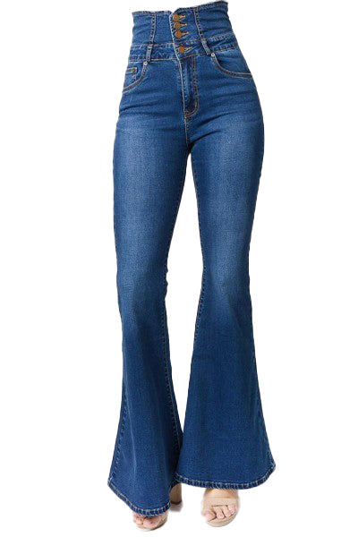 High Waisted Flare Denim Jeans w/ Tied Back - The House of Stylez