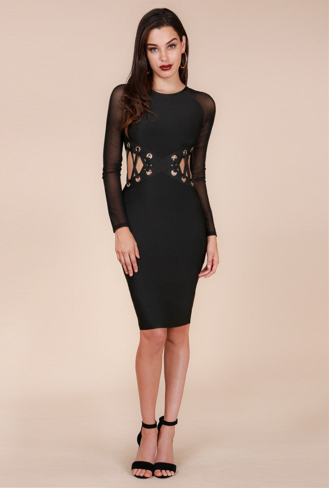 Black Sheer Sleeve Bandage Dress - The House of Stylez