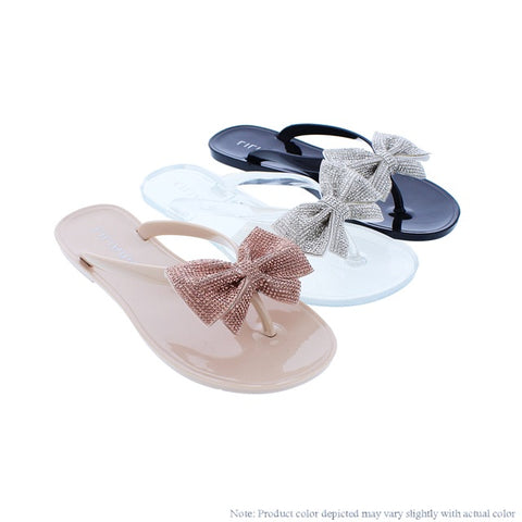 Bling Bow Thong Sandals {Three Color Available} - The House of Stylez