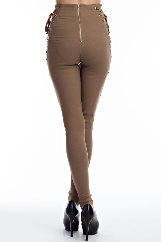 Laced Up Slim Fit Pants - The House of Stylez