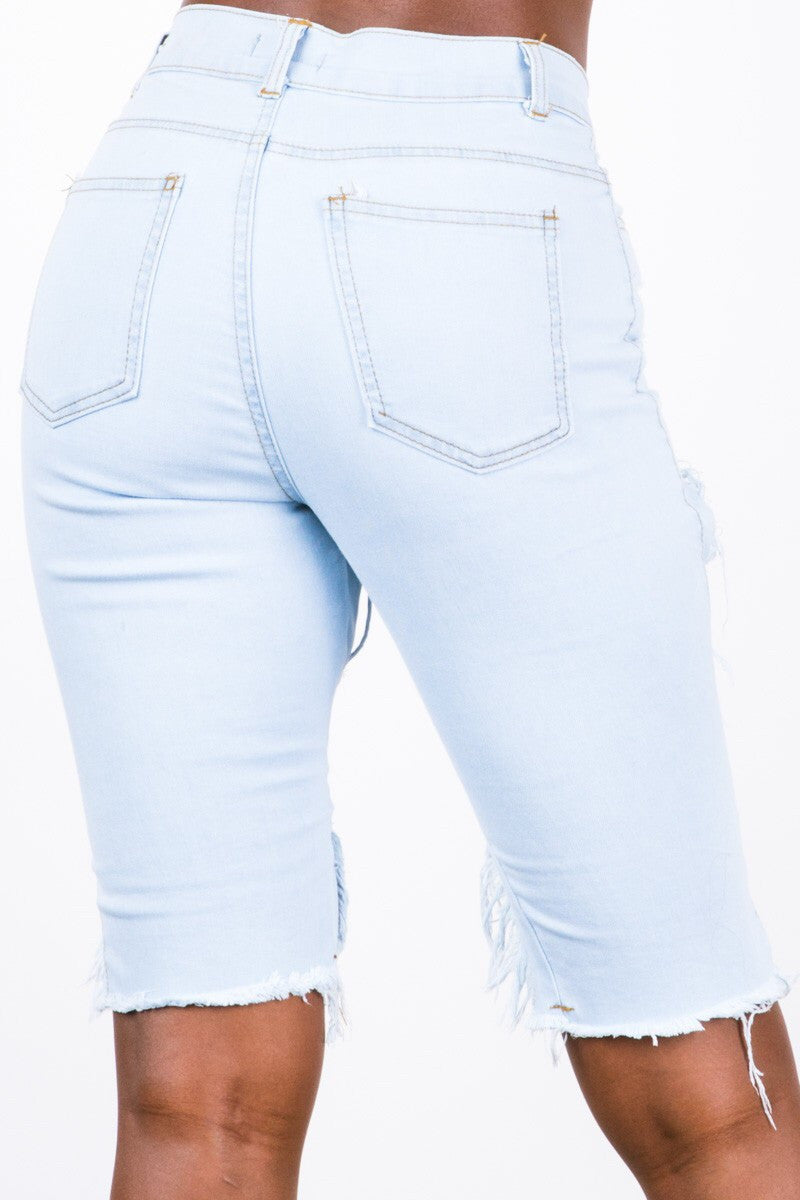 Light Blue Distressed Bermuda Shorts - The House of Stylez