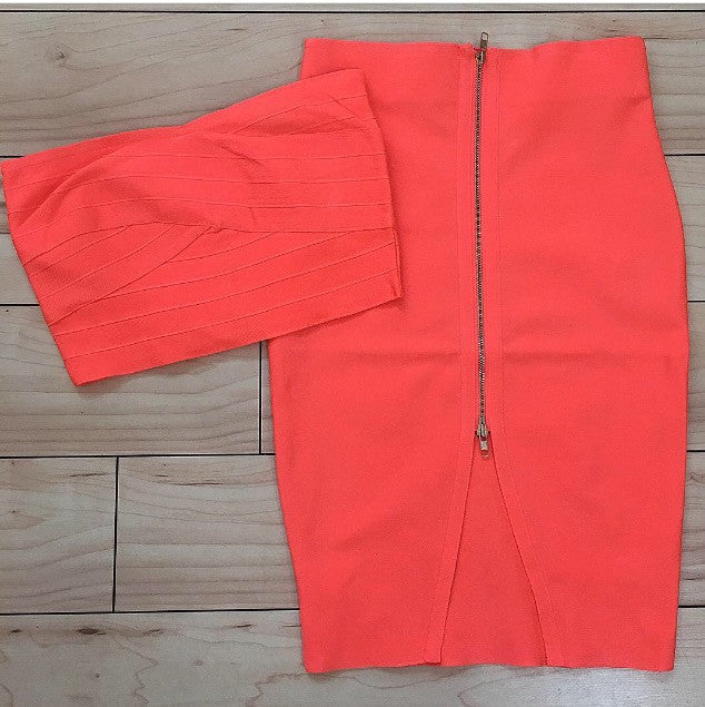 2pc Neon Orange Bandage Bandeau Top & Skirt Set - The House of Stylez