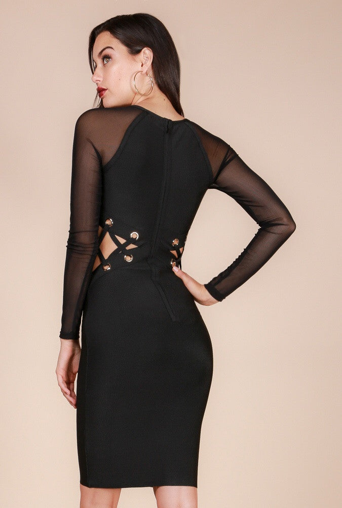 Black Sheer Sleeve Bandage Dress