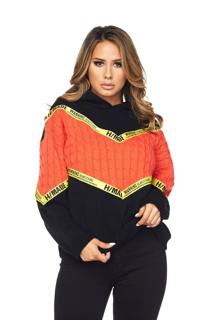 "Caution ""stay in your lane & mind your own business"" Knit Hoody Sweater - The House of Stylez"
