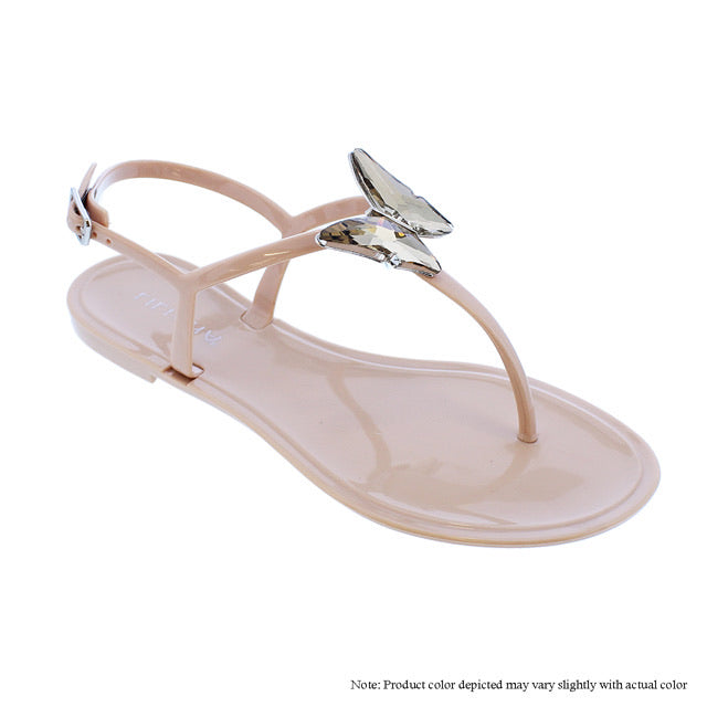 Crystal Butterfly Sandals -Nude - The House of Stylez