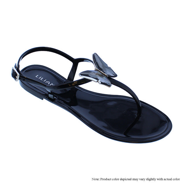 Crystal Butterfly Sandals -Black - The House of Stylez